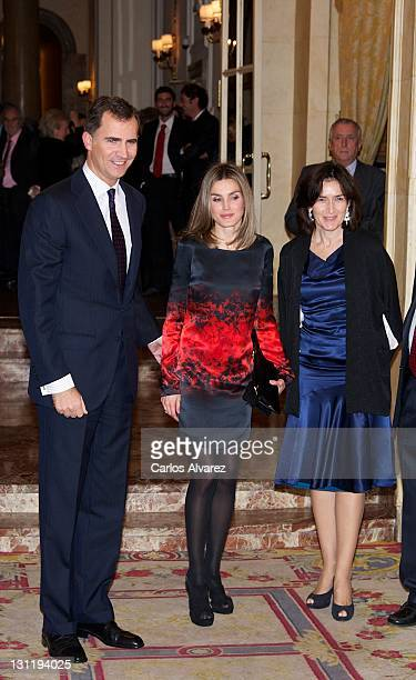 Prince Felipe of Spain Princess Letizia of Spain and Spanish Culture Minister Angeles Gonzalez Sinde attend Francisco Cerecedo journalism awards at...