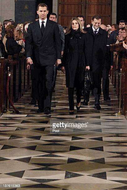 Prince Felipe of Spain Princess Letizia of Spain and Spanish Prime Minister Mariano Rajoy arrive for the funeral mass of Manuel Fraga Iribarne held...