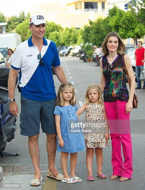 Prince Felipe of Spain Princess Letizia of Spain and their daughters Princess Sofia and Princess Leonor arrive to the Real Club Nautico de Palma to...
