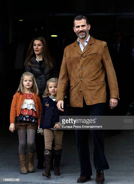 Prince Felipe of Spain Princess Letizia of Spain and their daughters Princess Leonor and Princess Sofia visit King Juan Carlos of Spain on November...