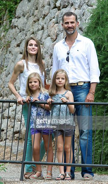 Prince Felipe of Spain Princess Letizia of Spain and their daugthers Princess Leonor of Spain and Princess Sofia of Spain visit 'La Granja' on August...