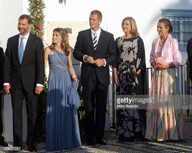 Prince Felipe of Spain, Princess Letizia of Spain arrive for the wedding of Prince Nikolaos and Miss Tatiana Blatnik at the Cathedral of Ayios...