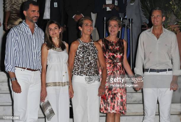 Prince Felipe of Spain, Princess Letizia of Spain, Princess Elena of Spain, Princess Cristina of Spain and Inaki Urdangarin pose as they arrive at...