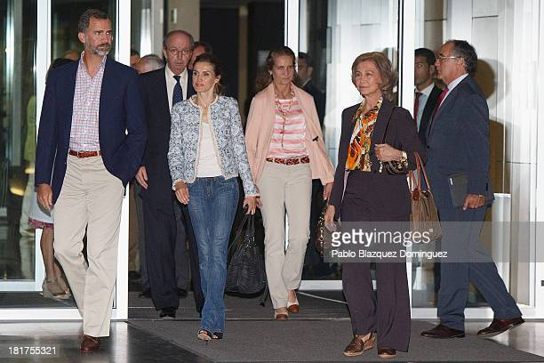 Prince Felipe of Spain Princess Letizia of Spain Princess Elena of Spain and Queen Sofia of Spain leave Quiron University Hospital where Spain's King...