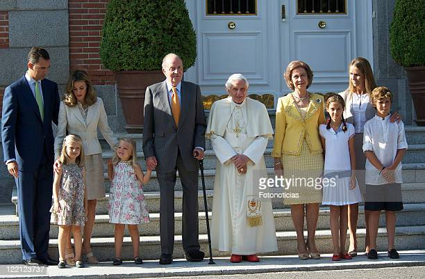 Prince Felipe of Spain Princess Letizia of Spain Princess Leonor of Spain Princess Sofia of Spain King Juan Carlos of Spain Pope Benedict XVI Queen...