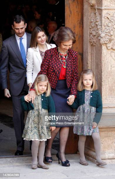 Prince Felipe of Spain Princess Letizia of Spain Queen Sofia of Spain Princess Sofia of Spain and Princess Leonor of Spain attend Easter Mass on...