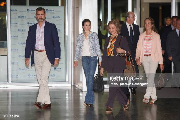 Prince Felipe of Spain Princess Letizia of Spain Queen Sofia of Spain and Princess Elena of Spain leave Quiron University Hospital where Spain's King...