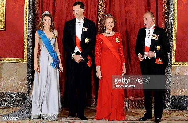 Prince Felipe of Spain Princess Letizia of Spain Queen Sofia of Spain and King Juan Carlos I of Spain attend a Gala Dinner honouring French President...