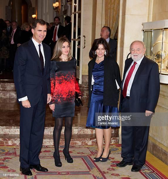 Prince Felipe of Spain Princess Letizia of Spain Spanish Culture Minister Angeles Gonzalez Sinde and Diego Carcedo attend Francisco Cerecedo...