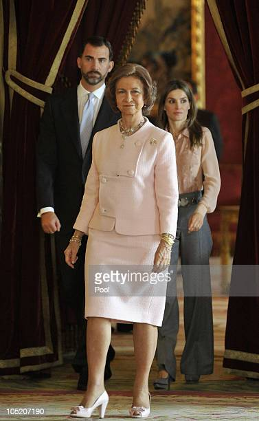 Prince Felipe of Spain Queen Sofia of Spain and Princess Letizia of Spain attend Spain's National Day Royal Reception at the Royal Palace on October...