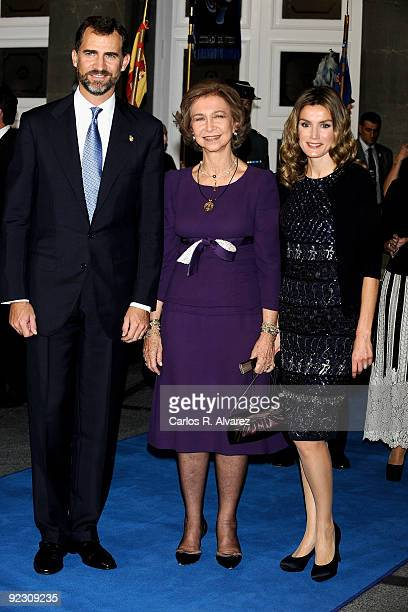 Prince Felipe of Spain Queen Sofia of Spain and Princess Letizia of Spain attend Prince of Asturias Awards 2009 ceremony at Campoamor Theatre on...