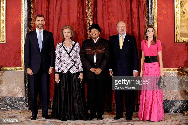 Prince Felipe of Spain Queen Sofia of Spain Bolivia's President Evo Morales King Juan Carlos of Spain and Princess Letizia of Spain attend a Gala...