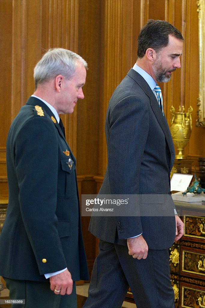 Prince Felipe of Spain (R) receives Chairman of the NATO Military committee, General Knud Bartels (L) at Zarzuela Palace on March 15, 2013 in Madrid, Spain.