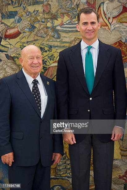 Prince Felipe of Spain receives Russian astronaut Alexei Leonov at Zarzuela Palace on June 27 2011 in Madrid Spain