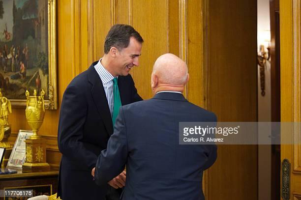 Prince Felipe of Spain receives Russian astronaut Alexei Leonov at Zarzuela Palace on June 27 2011 in Madrid Spain