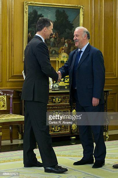 Prince Felipe of Spain receives Spanish Head Coach Vicente del Bosque at the Zarzuela Palace on April 25 2014 in Madrid Spain