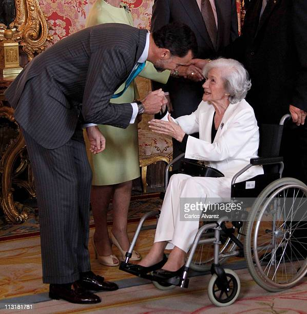 """Prince Felipe of Spain receives Spanish writer Ana Maria Matute for lunch in ocassion of the """"2011 Cervantes Award"""" at the Royal Palace on April 26,..."""