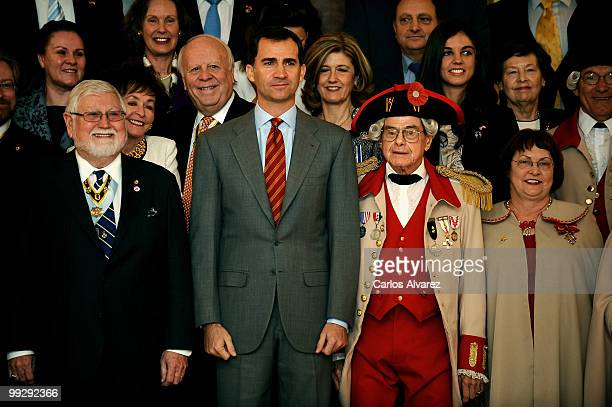 """Prince Felipe of Spain receives """"The National Society Sons of the American Revolution"""" members at the Zarzuela Palace on May 14, 2010 in Madrid,..."""