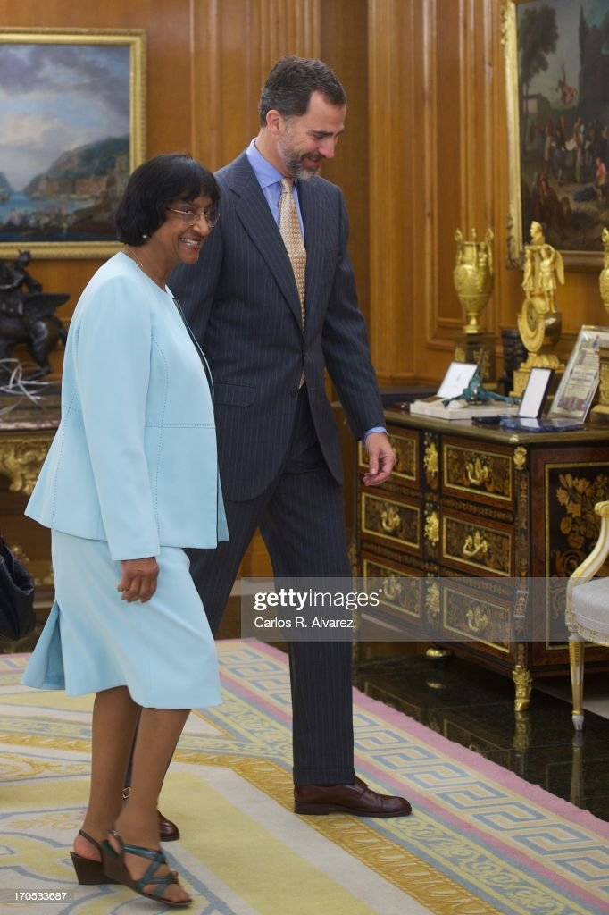 Prince Felipe of Spain Attends Mrs Navanethem Pillay at Zarzuela Palace