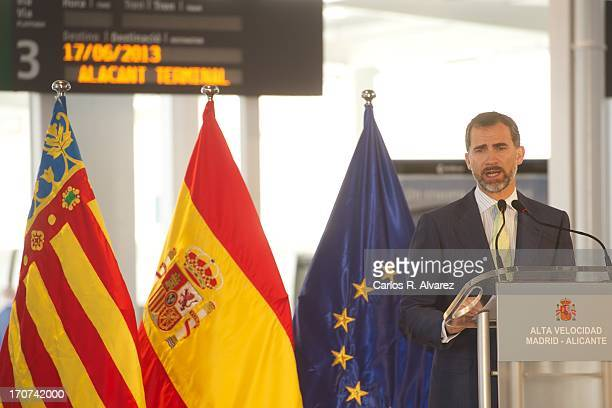 Prince Felipe of Spain speaks during the official inauguration of the new Alta Velocidad Espanola high speed Madrid to Alicante rail link at Alicante...