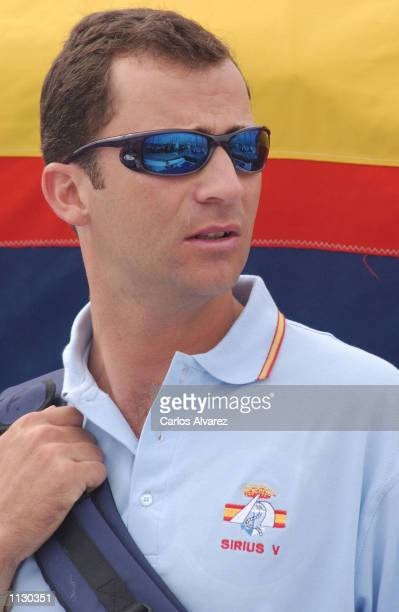 Prince Felipe of Spain stands on board of 'Sirius V' for the last day of the IV Sailing Trophy Queen Sofia July 07 2002 in Valencia Spain