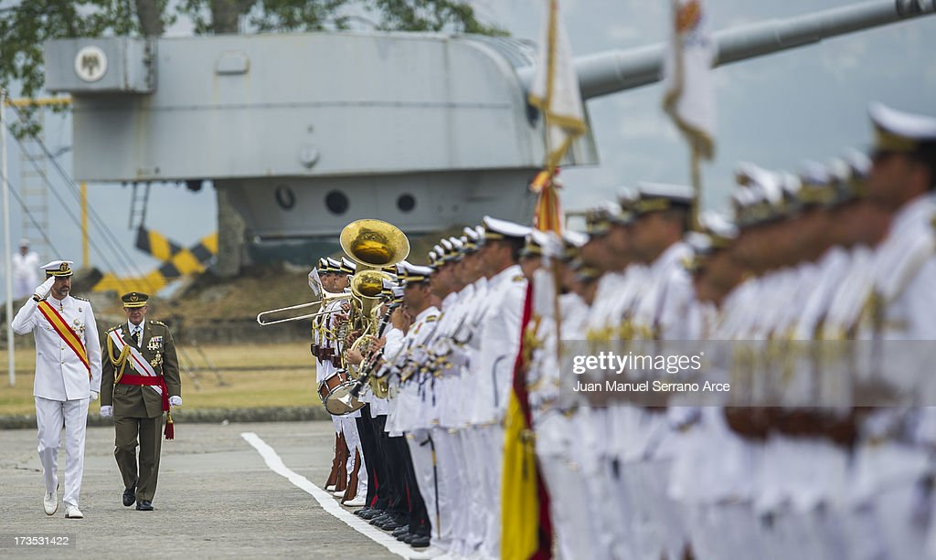 Prince Felipe of Spain visit the Marine Navy Academy to attend a graduation ceremony on July 16, 2013 in Pontevedra, Spain.