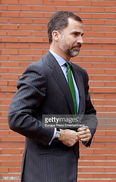 Prince Felipe of Spain visits King Juan Carlos of Spain at La Milagrosa Hospital on March 5 2013 in Madrid Spain King Juan Carlos of Spain underwent...