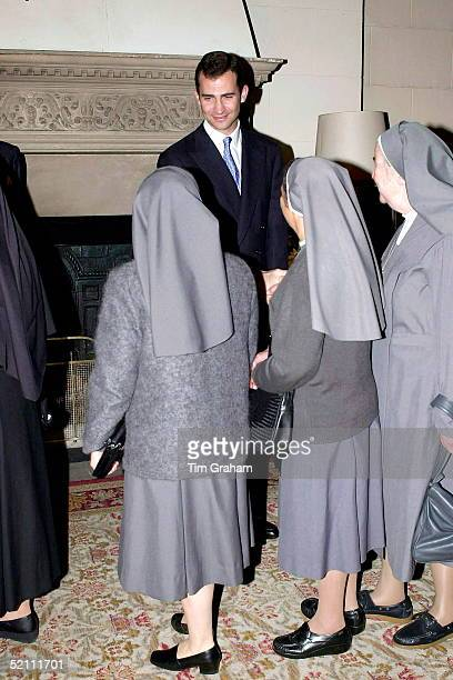Prince Felipe [ Prince Of Asturias ] Greeting A Group Of Nuns As They Arrive For A Reception At The Spanish Embassy In London