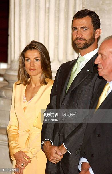 Prince Felipe Princess Letizia and King Juan Carlos This is the first appearence of the royal couple after their honeymoon