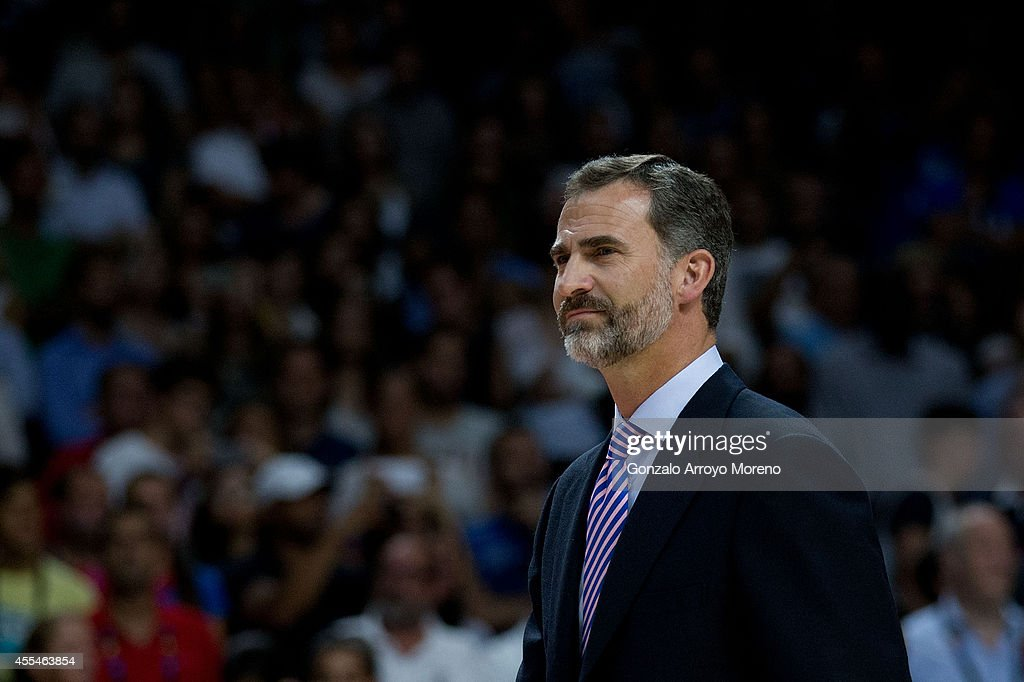 Prince Felipe VI of Spain attends the awards ceremony after the 2014 FIBA World Basketball Championship final match between USA and Serbia at Palacio de los Deportes on September 14, 2014 in Madrid, Spain.