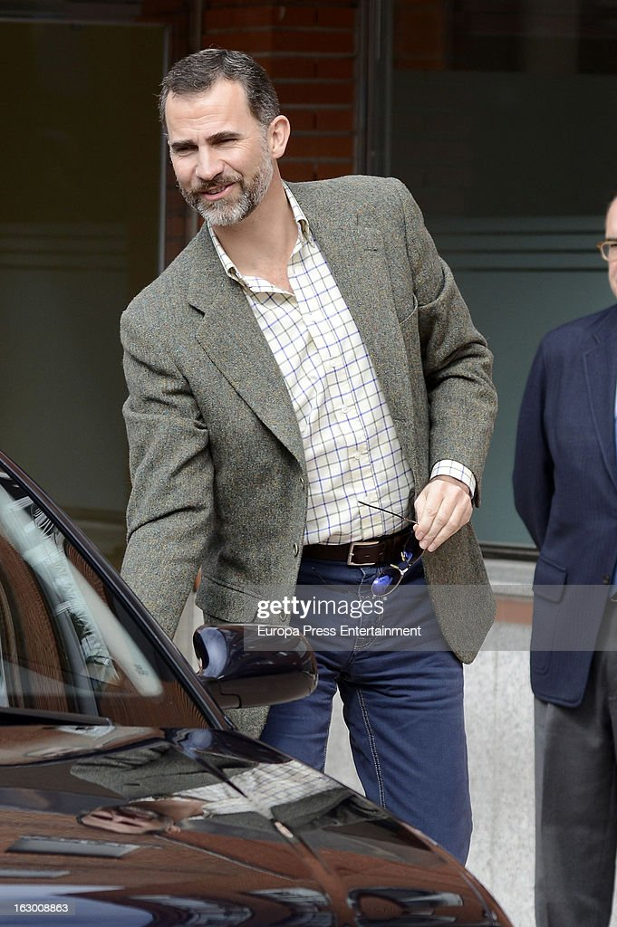 Prince Felipe visit king juan carlos at La Milagrosa Hospital on March 3, 2013 in Madrid, Spain. He had hip surgery last November. The king has had several other health issues in the past two years, including knee surgery and the removal of a benign lung tumor.