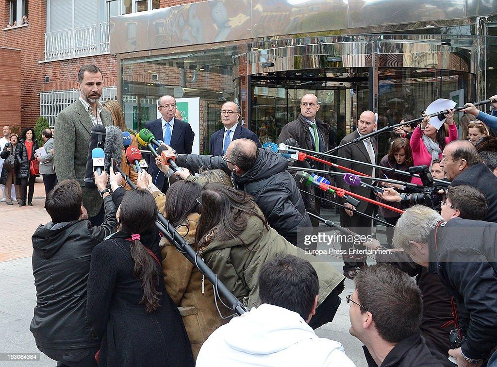 Prince Felipe visits King Juan Carlos at La Milagrosa Hospital on March 3, 2013 in Madrid, Spain.