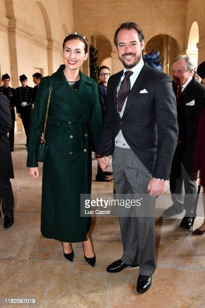 Prince Felix de Nassau and his wife Claire attend the Wedding of Prince JeanChristophe Napoleon and Olympia Von ArcoZinneberg at Les Invalides on...