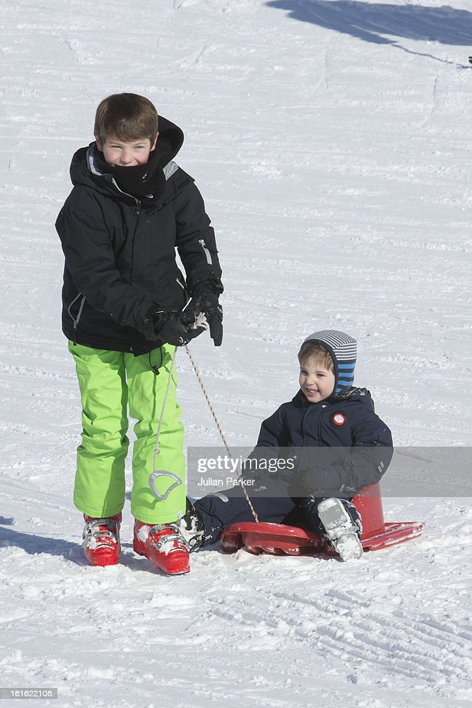 Prince Felix of Denmark and Prince Henrik of Denmark pose during an annual family skiing holiday on February 13, 2013 in Villars-sur-Ollon, Switzerland.