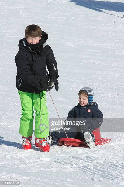 Prince Felix of Denmark and Prince Henrik of Denmark pose during an annual family skiing holiday on February 13 2013 in VillarssurOllon Switzerland