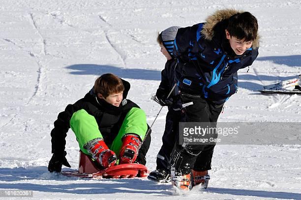 Prince Felix of Denmark and Prince Nikolai of Denmark meet the press whilst on skiing holiday in Villars on February 13 2013 in VillarssurOllon...