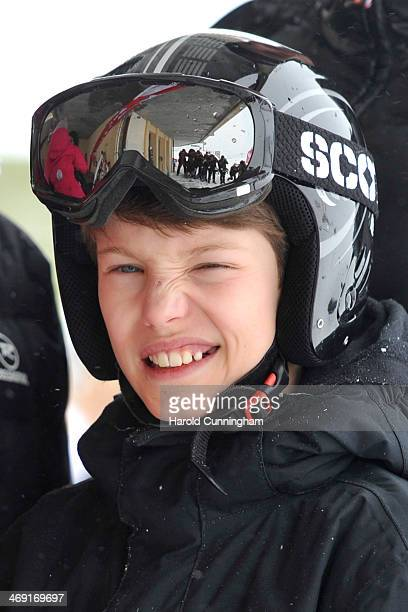 Prince Felix of Denmark meets the press, whilst on skiing holiday in Villars on February 13, 2014 in Villars-sur-Ollon, Switzerland.