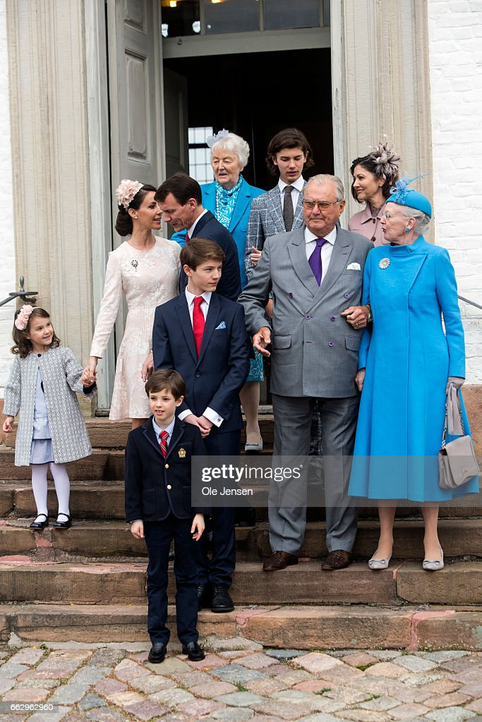 Prince Felix (R - 3rd) of Denmark, son of Prince Joachim and former wife Countess Alexandra, together with his family Queen Margrethe (R), Prince consort Henrik, his father and mother Prince Joachim and Princess Marie at the Fredensborg Palace church after his confirmation on April 1, 2017 in Fredensborg, Denmark. Prince Felix is 14 years old and number 8 in succession to the throne.