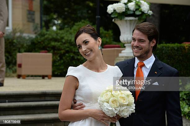 Prince Felix of Luxembourg and German student Claire Lademacher pose for pictures after their Civil Wedding Ceremony at Villa Rothschild Kempinski on...