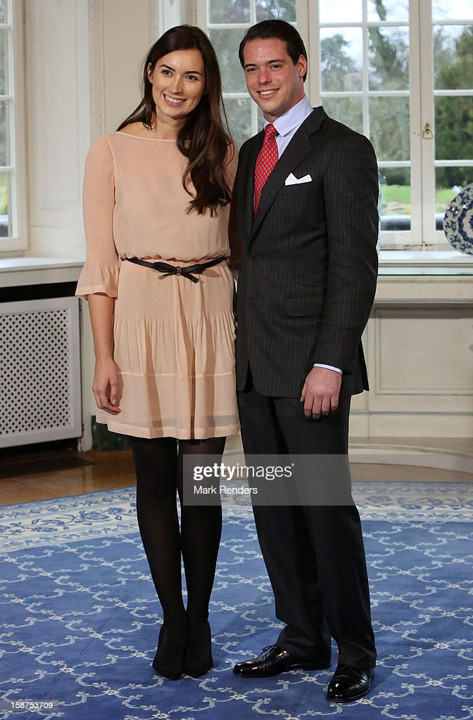 Prince Felix of Luxembourg (R) and his fiancee Claire Lademacher attend a Portrait Session at Chateau De Berg on December 27, 2012 in Luxembourg, Luxembourg.