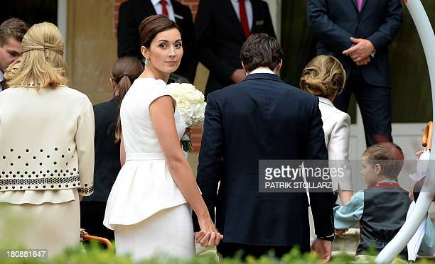Prince Felix of Luxembourg and his wife German student Claire Lademacher leave after a family picture after their Civil Wedding Ceremony at Villa...