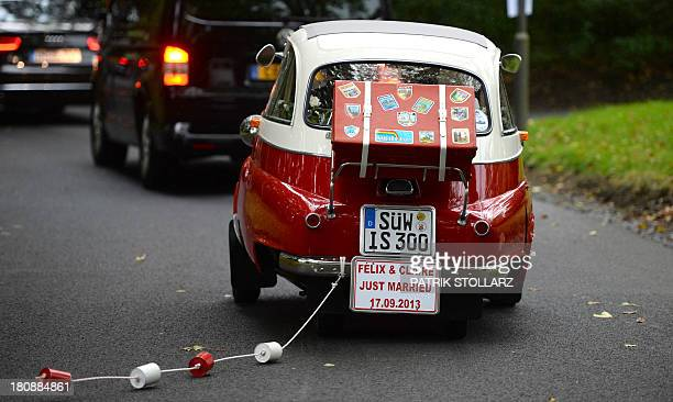 Prince Felix of Luxembourg and his wife German student Claire Lademacher leave the wedding in a BMW Isetta 300 car after their Civil Wedding Ceremony...