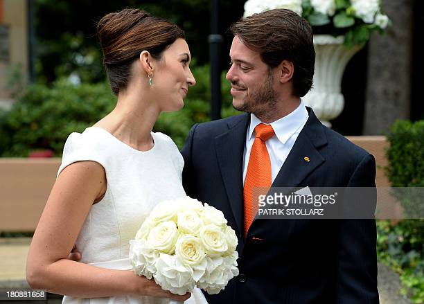 Prince Felix of Luxembourg and his wife German student Claire Lademacher pose after their Civil Wedding Ceremony at Villa Rothschild Kempinski on...