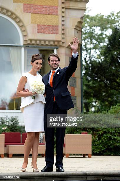 Prince Felix of Luxembourg and his wife German student Claire Lademacher pose for photographers after their Civil Wedding Ceremony at Villa...