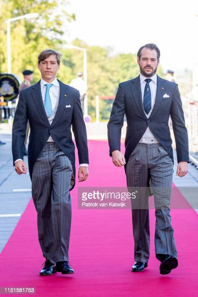 Prince Felix of Luxembourg and Prince Louis of Luxembourg arrive at the Philiarmonie for the concert on the National Day on June 23 2019 in...