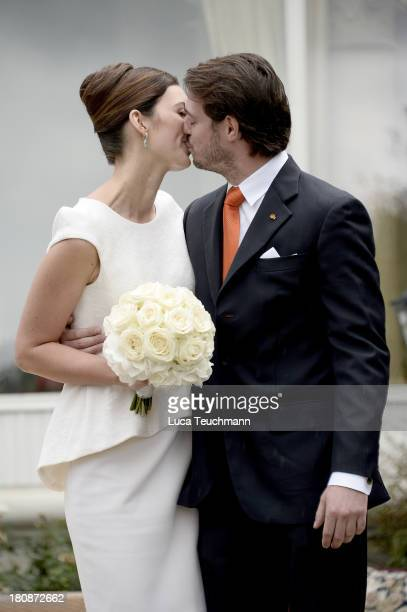 Prince Felix Of Luxembourg and Princess Claire of Luxembourg celebrate after taking their vows at their civil wedding ceremony at Villa Rothschild...