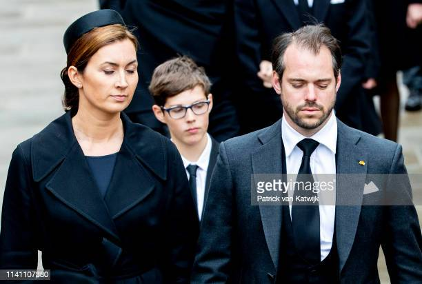 Prince Felix of Luxembourg and Princess Claire of Luxembourg attend the funeral of Grand Duke Jean of Luxembourg on May 04 2019 in Luxembourg...