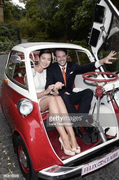 Prince Felix of Luxembourg and Princess Claire of Luxembourg climb into a BMW Isetta after taking their vows at their civil wedding ceremony at Villa...