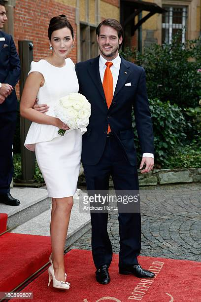 Prince Felix Of Luxembourg and Princess Claire of Luxembourg depart the villa after their Civil Wedding Ceremony at Villa Rothschild Kempinski on...