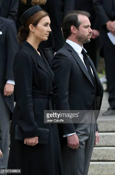 Prince Felix of Luxembourg and Princess Claire of Luxembourg during the funerals of Grand Duke Jean of Luxembourg at Cathedrale NotreDame on May 4...